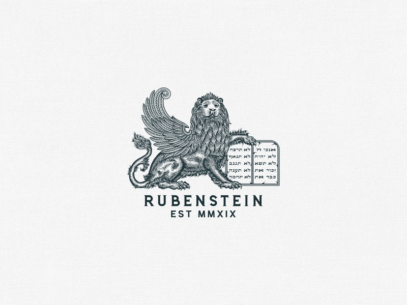 Rubenstein Lion Logo elements hand lettering ornaments decorations typography unique traditional unique handcrafted illustration handcrafted traditional illustration illustration vintage tuyetduyet tuyetduyetstudio rubenstein rubenstein capital typography logo branding maison co lion illustration