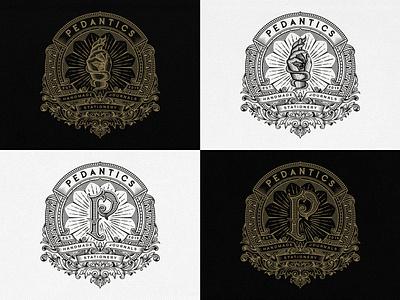 Pedantics graphic design monogram logo print design monogram design print logo design branding design traditional vintage typogaphy est 2019 stationery journals handmade pedantics unique handcrafted illustration tuyetduyetstudio tuyetduyet branding illustration