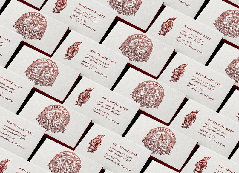 Pedantics Business Cards illustration branding tuyetduyet tuyetduyetstudio unique handcrafted illustration pedantics handmade journals stationery est 2019 typogaphy vintage traditional branding design logo design print monogram design print design monogram logo graphic design