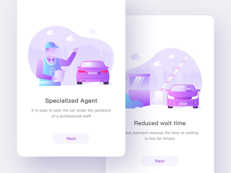 Parking App 01 boot page startup professional roadblock purple plant parking guide car panda