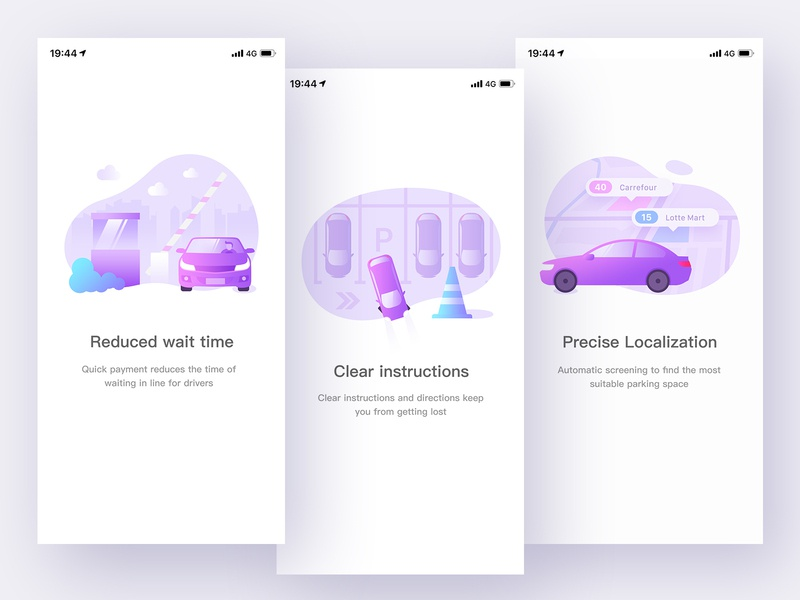 Parking App Boot Page conductor guided location startup roadblock purple professional plant parking panda guide car boot page