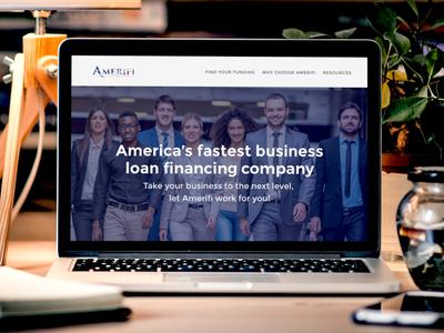 Amerifi Website Revamp homepage revamp business loans financing loan user interface design amerifi landing page