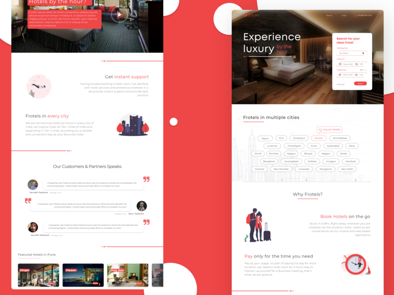 Frotels - Hotel by the hour product typography minimal app design minimal landing page hotel app hotel adobexd revamp re-design web app design web deisgn hotel booking uidesigner uiuxdesign ui design