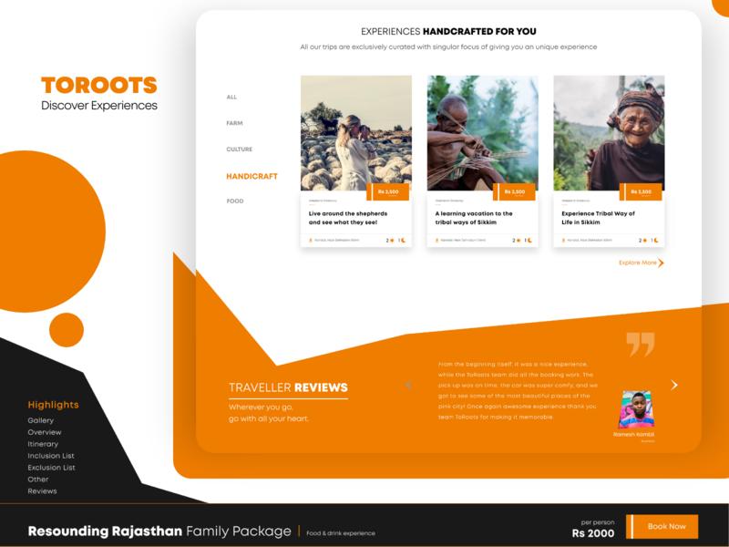 ToRoots Experiences - Web Design branding revamp website design webdesign ux startups ui adobexd design user interface design uiuxdesign landing page