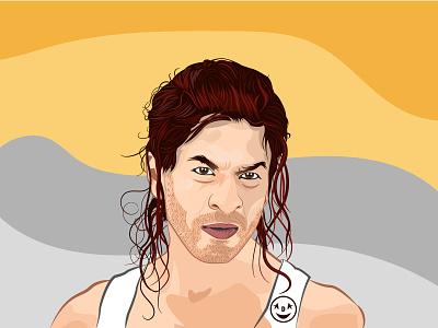 Digital vector portrait of Shah Rukh Khan painting shahrukhkhan portrait art shahrukh srk portrait art vector illustration