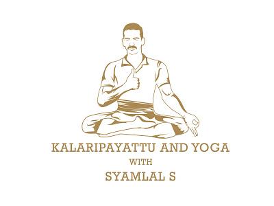 Logo for kalaripayattu and yoga caricature martialarts kalari portrait art vector illustration branding logo