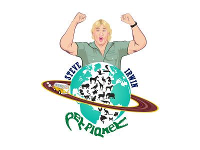 Logo for Steve Irwin Pet Planet design portrait branding art caricature typography vector illustration logo