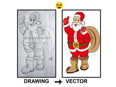 santa pencil to vector vectorart pencil art pencil sketch santaclaus santa christmas vector illustration