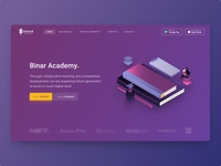 Landing page of Binar Academy