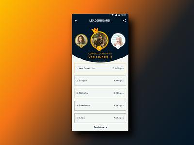 Daily UI Challenge #17 LeaderBoard minimal design daily ui dailyui app uxdesign ux uidesign ui dailyuichallenge daily 100 challenge