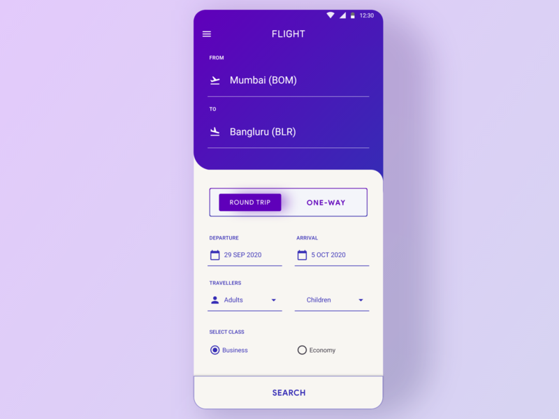 Daily UI Challenge #68   Flight Search minimal design daily ui dailyui app uxdesign ux ui uidesign dailyuichallenge daily 100 challenge