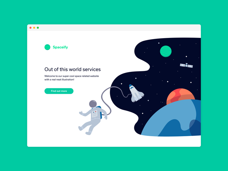 An Out of This World Website flat icon design illustration icons astronaut stars space planet planets
