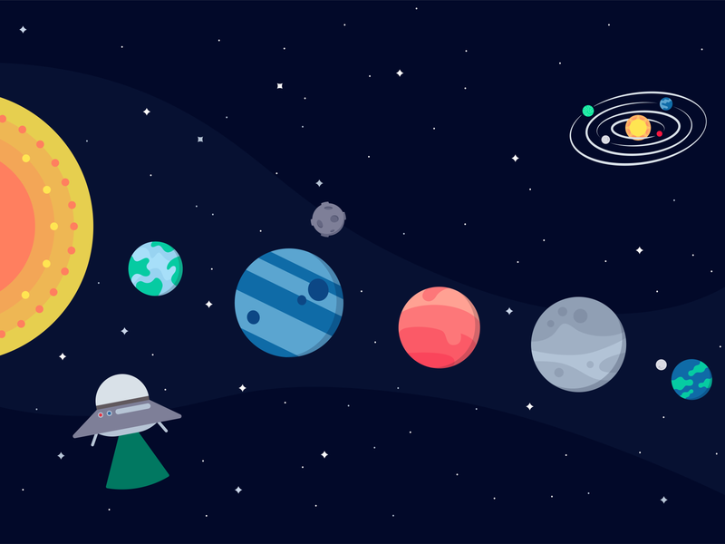 The Galaxy stars space planets planet illustration icons icon flat design astronaut