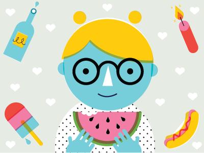 July 4th Selfie illustration design branding tinybop