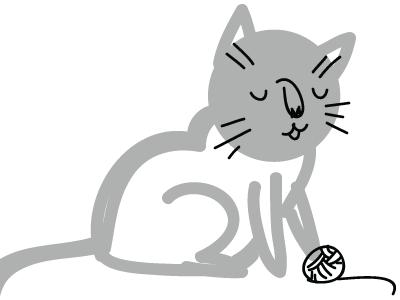 Happy Cat Sketch illustration tuesday bassen ink brush digital process sketch