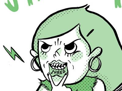 She Shreds illustration tuesday bassen ink brush digital