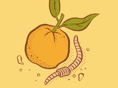 Orange and Earthworm illustration tuesday bassen ink brush digital