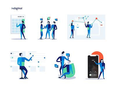 i-Digital illustrations branding graphic design illustration design simple trend flat