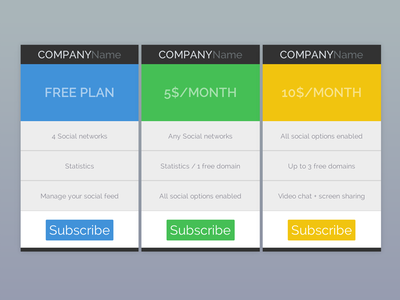 Flat pricing tables rebound by dribbble for Table design javascript
