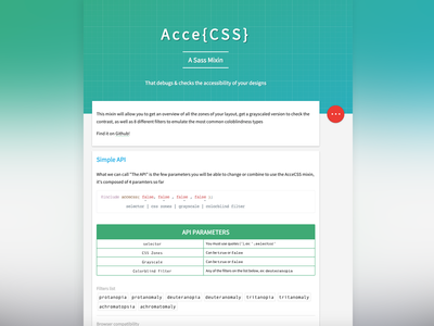 AcceCSS - Homepage webdesign ux ui homepage github sass mixin colorblind access
