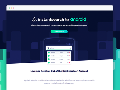 Instantsearch Android page javascript css frontend android landing page ux ui instantsearch algolia