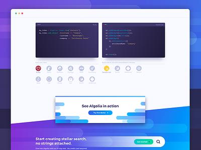 Algolia website redesign purple blue web vectors page landing search svg gradient flat algolia