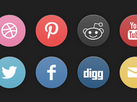 'Old School' Social Icon Set (css)
