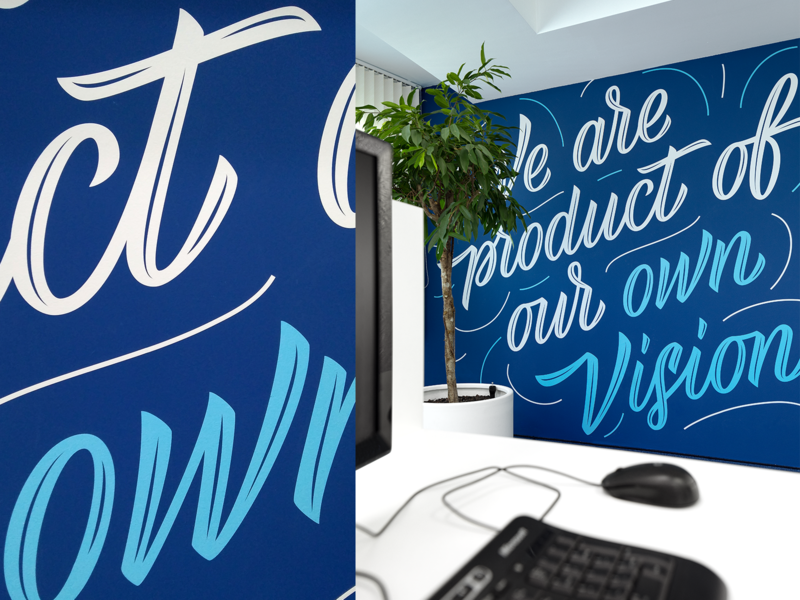 Algo Capital | Environmental graphics design branding office space inspirational quote fourplus mural environmental design typography lettering