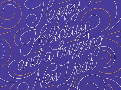 DataBees | Xmas card happy holidays tsvetislava koleva sofia branding monoline hand lettering christmas christmas card greeting card bulgaria design fourplus typography calligraphy illustration lettering