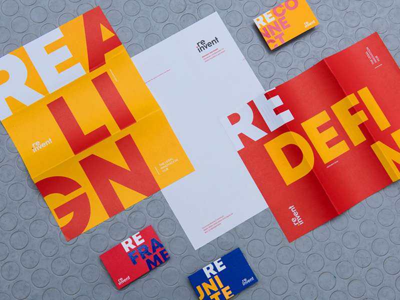 reinvent - The Legal Innovation Hub print materials business cards law co-working space typography branding