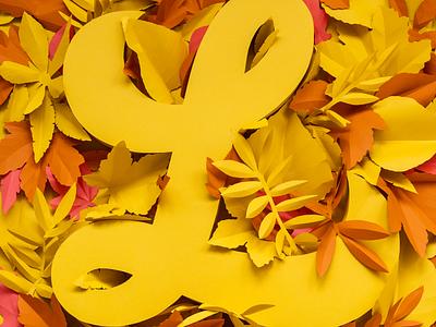 L for Leaf Fall | COLORS handcrafted leaf autumn paperart set design typography illustration lettering papercraft