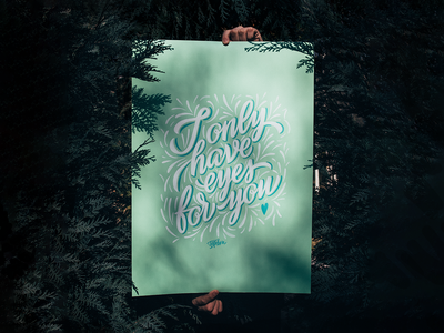 Eyes for you💜 / Poster typography poster hand crafted lettering