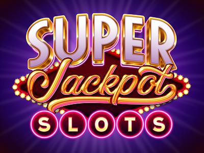 Super Jackpot Slots type mobile neon vector illustration shiny casino game app slot machine slot logo