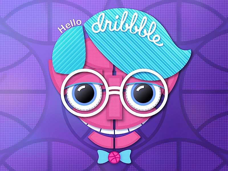 Hello Dribbble candy purple glasses basketball nerd player illustration dribbble hello