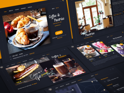 Coffee & Pastries (all screens mockup)