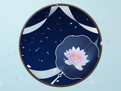 Chinese Spring Night render 3d symbol nature design illustration silk flower lotus fan blossom concept art chinese