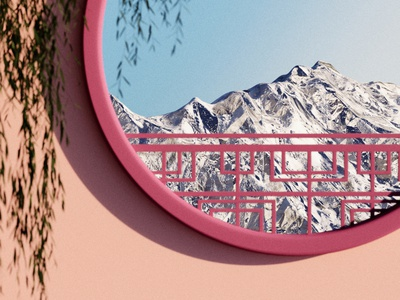 What do you see from your window? blender3d render art mountain window digital cgi 3d geometry nature design illustration concept