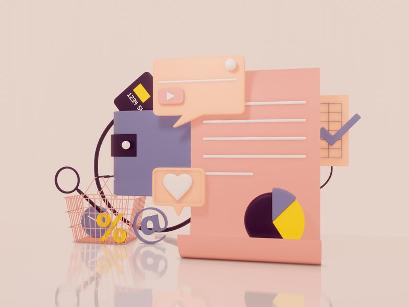 E-commerce Illustration blender3d artwork sale card money shopping finance commerce render digital cgi art geometry design illustration 3d
