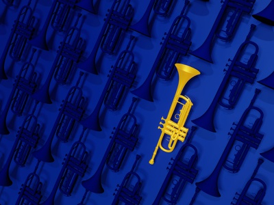 Trumpet art digital cgi render blender trumpet music symbol illustration 3d