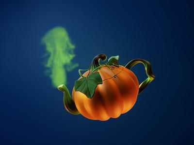 Pumpkin Tea render helloween pumpkin digital cgi illustration 3d 3d art concept dribbbleweeklywarmup