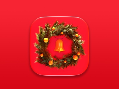 Christmas Wreath Icon christmas symbol nature illustration render 3d 3d art concept blender3d icon design