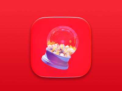 Christmas Crystal Ball digital cgi illustration symbol render 3d ball present christmas concept design icon