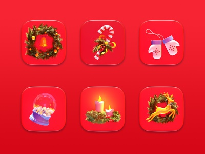 Set of Christmas Icons icon set deer design cgi concept render 3d candle symbol wreath holiday christmas icon