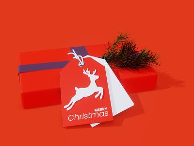 Christmas Tag new year deer gift present tag illustration christmas dribbbleweeklywarmup 3d art blender3d