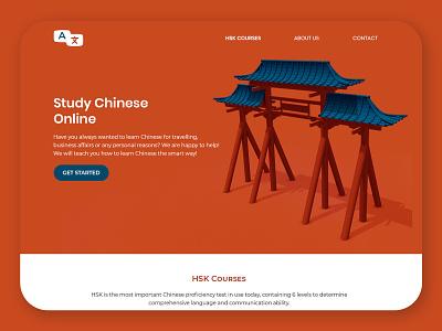Landing Page - Study Chinese webdesign landing study language ux ui symbol branding design concept blender3d 3d art 3d