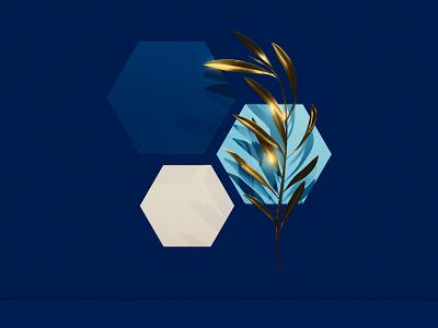 Hexagons and Olive nature olive branch olive gold geometry symbol 3d 3d art blender3d concept illustration