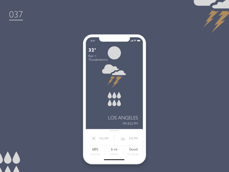 Daily UI Challenge - Day 37 lightning lightning bolt thunder ux ui illustration flat icon rain weather app weather 037 dailyui daily ui