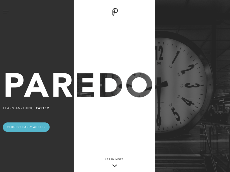 Paredo Landing Page Concept high contrast dark app landing page app flat design branding ux ui
