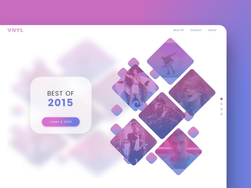 Daily UI Challenge - Day 63 063 best of 2015 2015 music app music website gradient app flat dailyui design branding daily ui ux ui