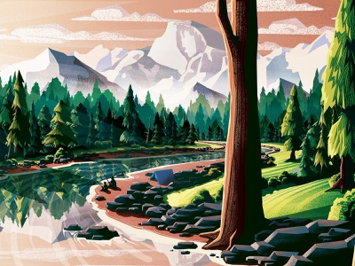 The RiverBend camping fishing river mountains illustrator illustration vector photoshop msw